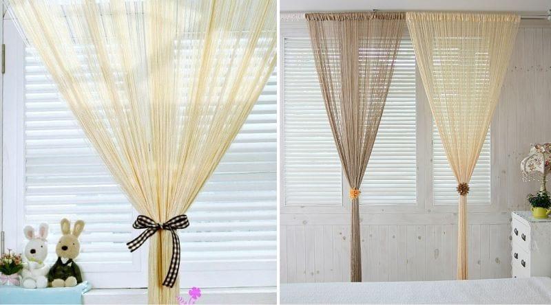 Декор нитяными шторами. Нитяные шторы в дизайне гостиной фото.