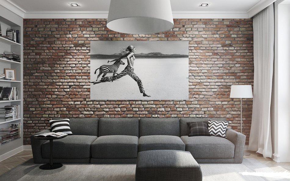 интерьер однокомнатной квартиры в стиле лофт