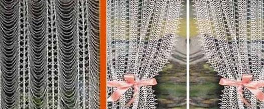 вязаные шторы вязание крючком занавесок для кухни со схемами и