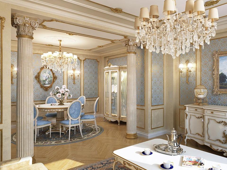 дизайн гостиной современная классика