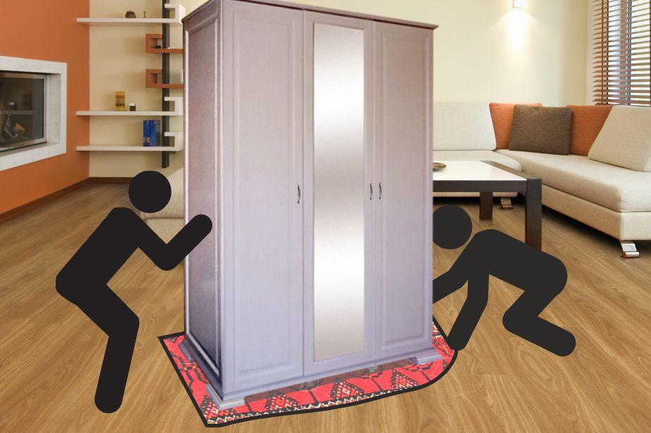 Передвижение мебели на коврике