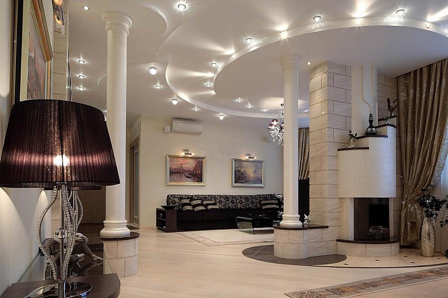 Многоуровневое освещение в гостиной | Квартира 170 м² в стиле ...