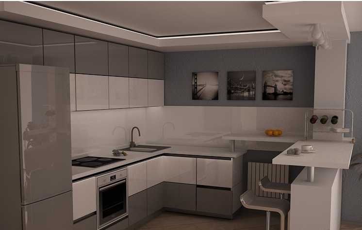 ФОТО КУХНИ 2017 - Угловая кухня в светлых тонах в стиле минимализм.
