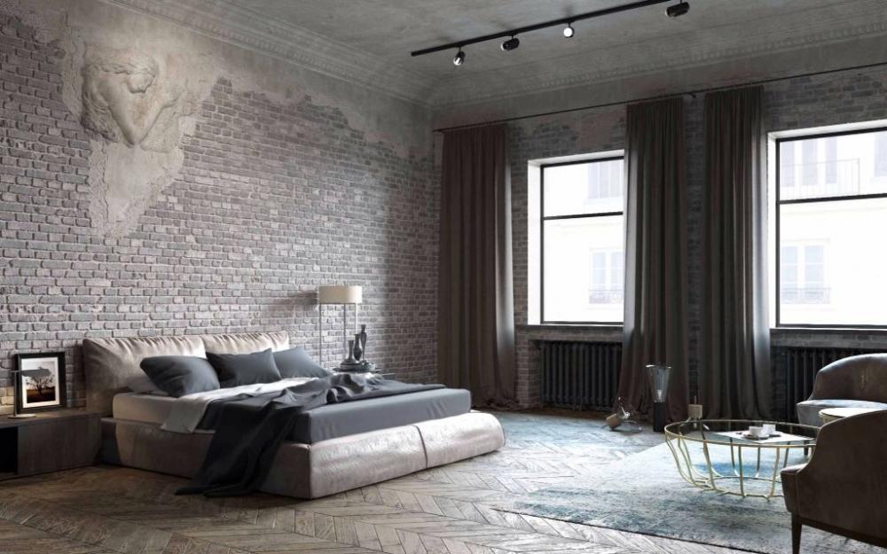 Спальня, лофт, кирпич, серый цвет | Кирпич в интерьере в 2018 г ...