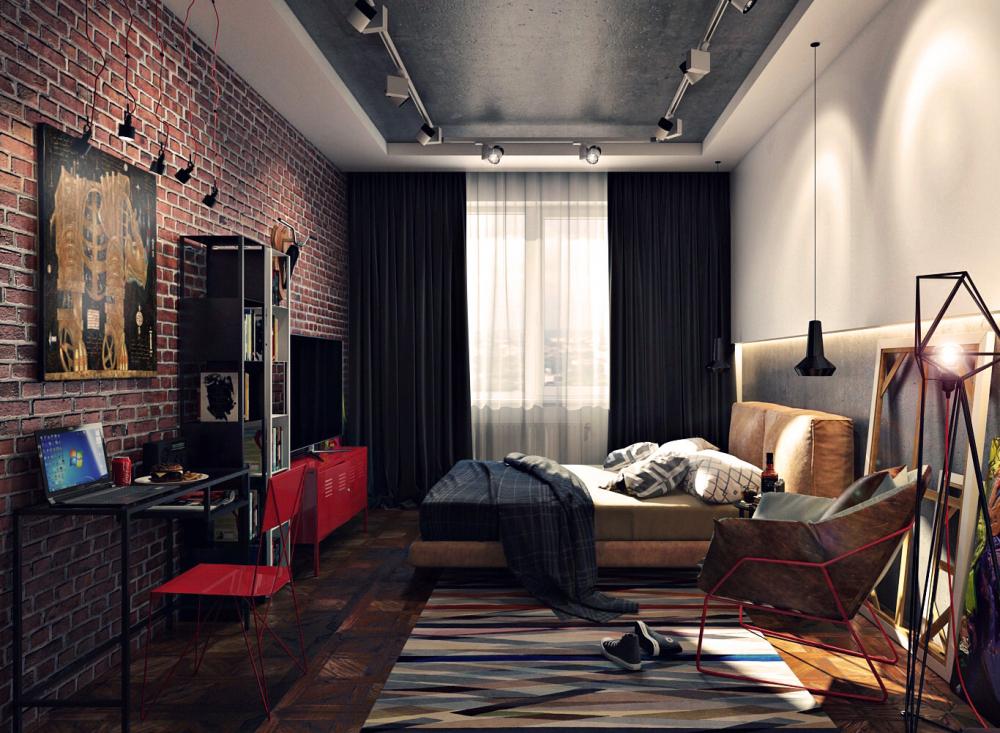 интерьер мужской комнаты