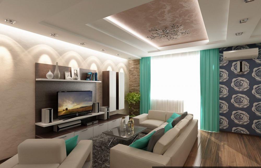 интерьер прямоугольной гостиной
