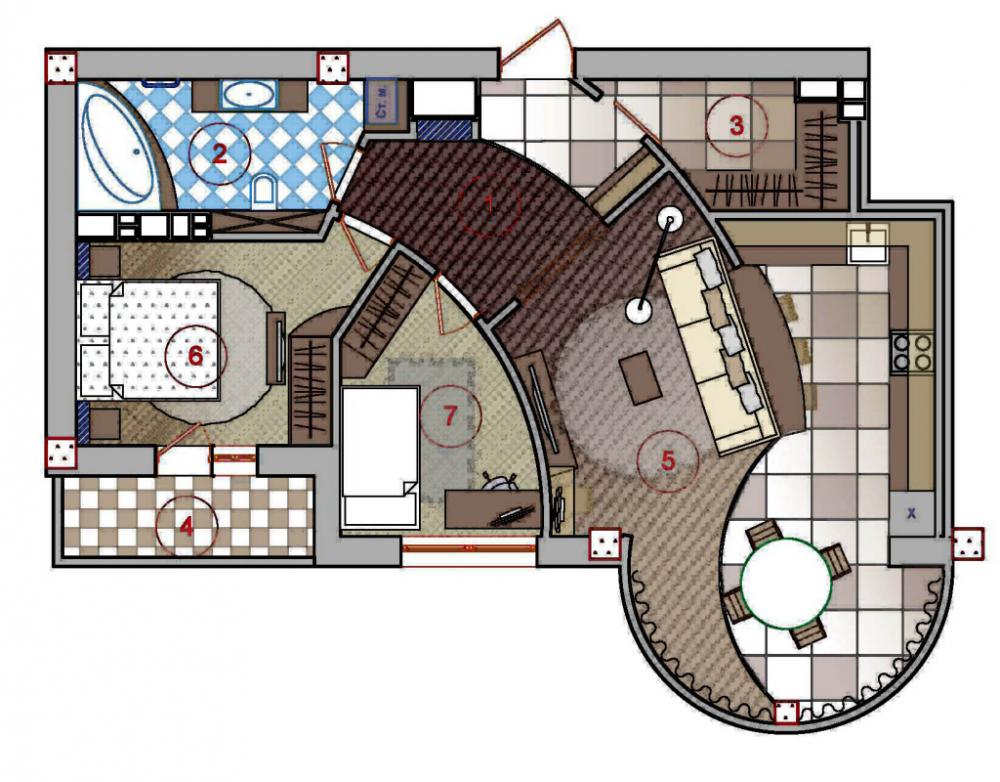 план однокомнатной квартиры (главный ключ)