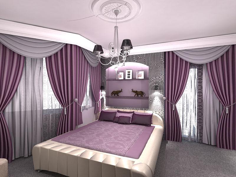 спальня в сиреневых тонах
