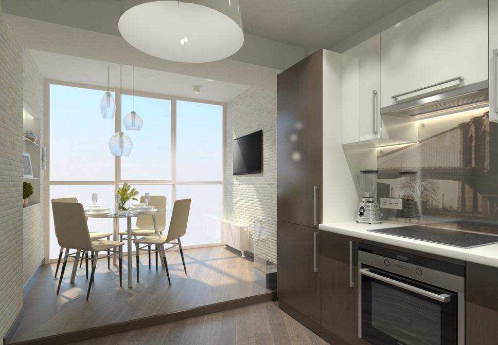 дизайн маленькой кухни с балконом