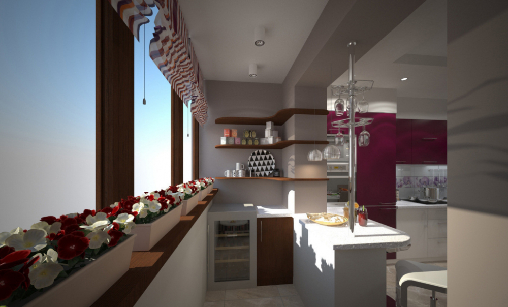 дизайн кухни совмещенной с балконом