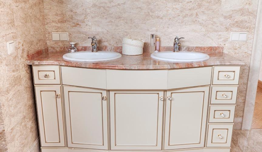двойные раковины с тумбой для ванной