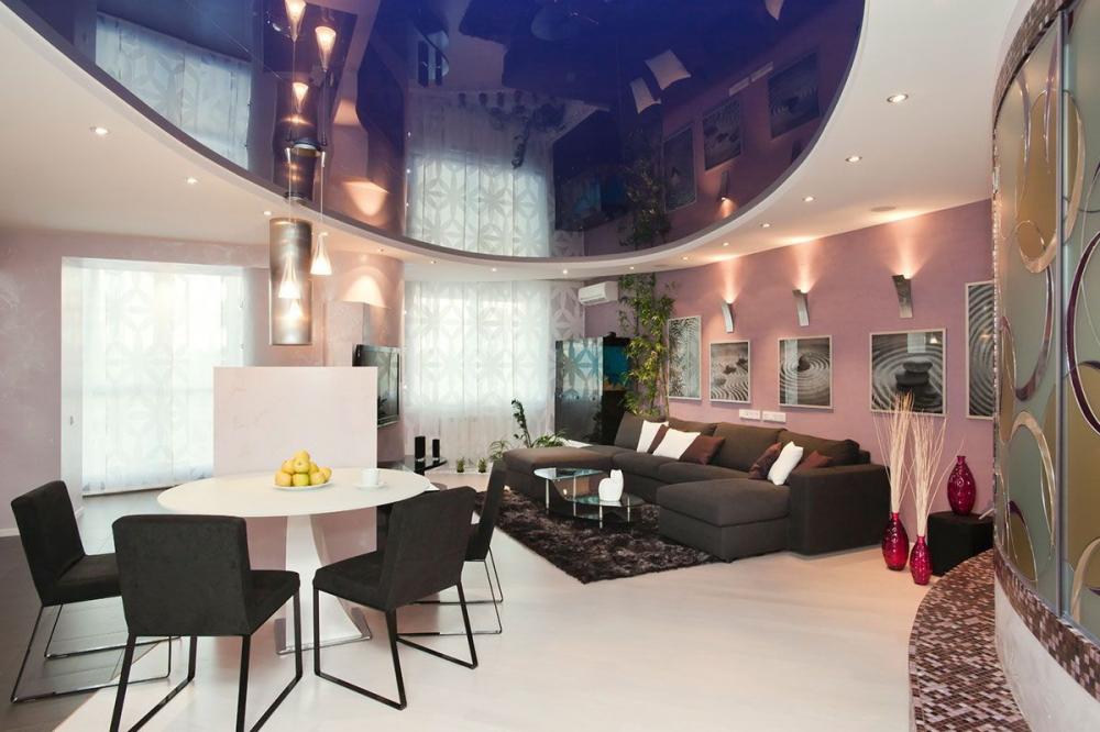 дизайн подвесных потолков из гипсокартона в зале