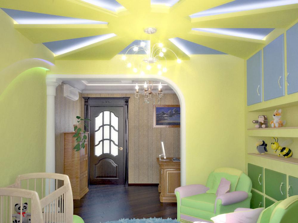 Потолки из гипсокартона в детской комнате