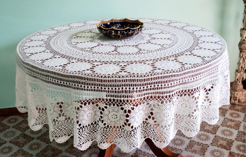 Винтаж: Ажурная скатерть на круглый стол – купить в интернет ...