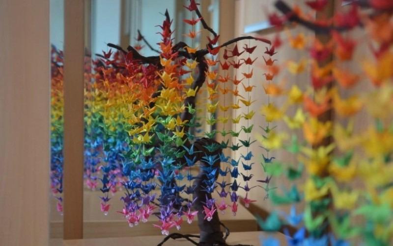 Аист в технике оригами - идеи для декорирования стен | Домашний hand ...