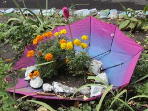 Клумба из зонта своими руками: фото, как сделать пошагово, размеры, чертежи, мастер-класс