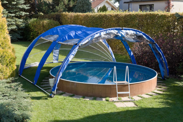 Чем накрыть каркасный бассейн на улице на даче своими руками