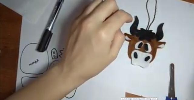 Бык из фетра своими руками: выкройки на елку, схемы, шаблоны, мастер-класс, фото
