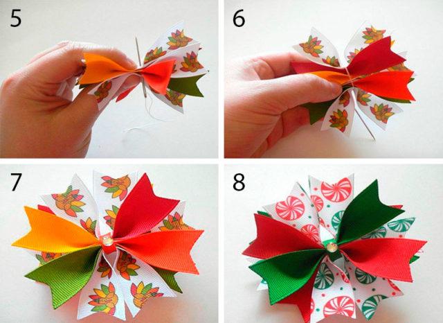 Как сделать банты из атласных лент на елку своими руками
