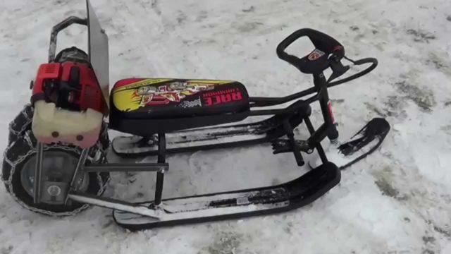 Детский снегокат с мотором своими руками: как сделать, чертежи, видео