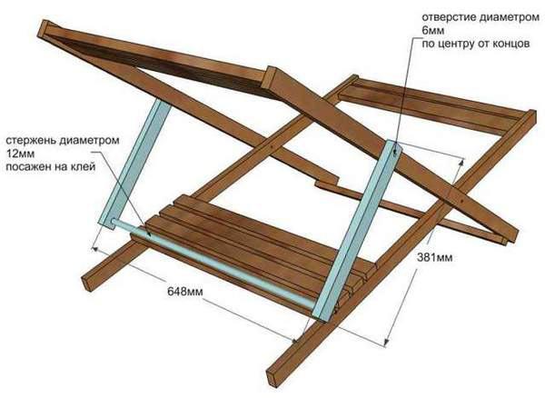 Складной деревянный шезлонг: чертежи, как сделать своими руками